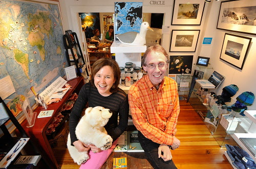 Pamelia Markwood and her husband, Craig Neff, sit in the Ocean Room of  their business, The Naturalist's Notebook, in Seal Harbor in June 2010.
