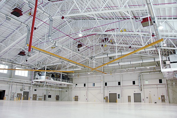 Building 499, the newest hangar at the Bangor Air National Guard Base, incorporates many energy-efficiency features that have earned the facility a LEED Silver rating from the United States Green Building Council.