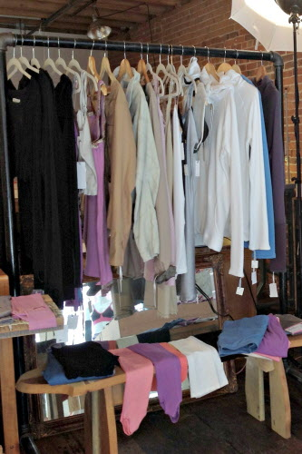 A rack of organic loungewear hangs at Brook There in Portland.