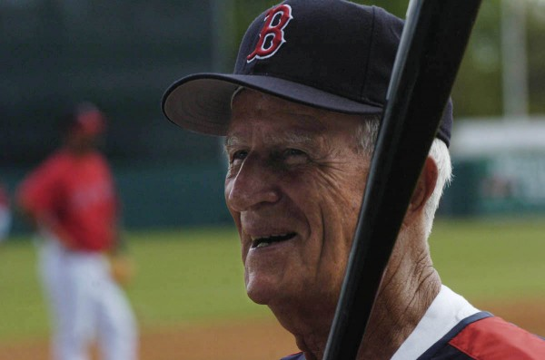 Johnny Pesky, former Red Sox player and coach and current consultant , makes his rounds on the diamond during the Red Sox pregame warmup at City of Palms Park in Fort Myers, Fla., in March 2006.