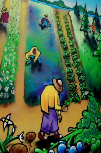 This artwork adorns the medical clinic on wheels being used at a Rakers' Center in Columbia to meet the health care needs of farm workers who are raking blueberries in Washington County.