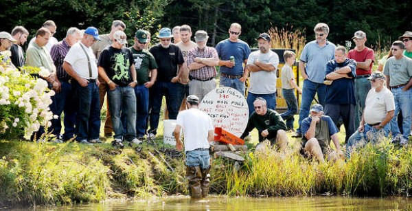 J.P. Wilson of Morrisonville, N.Y., leads a workshop on water trapping during the 36th annual New England Trappers Weekend in Bethel on Saturday.