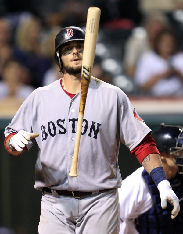 Boston Red Sox's Jarrod Saltalamacchia tosses his bat after striking out against Cleveland Indians relief pitcher Vinnie Pestano in the eighth inning of a baseball game, Thursday night, Aug. 9, 2012, in Cleveland.