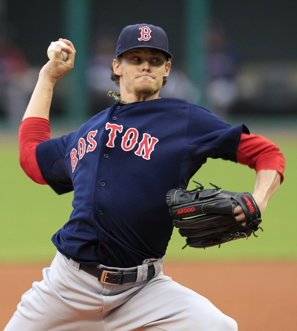 Boston Red Sox starter Clay Buchholz pitches in the first inning of a baseball game against the Cleveland Indians, Friday night, Aug. 10, 2012, in Cleveland.