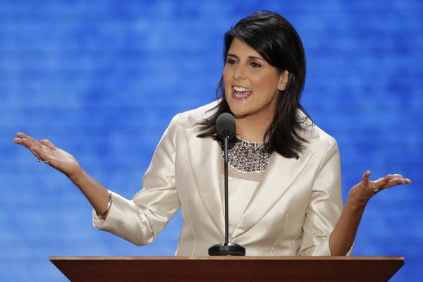 South Carolina Gov. Nikki Haley addresses the Republican National Convention in Tampa, Fla., on Tuesday, Aug. 28, 2012.