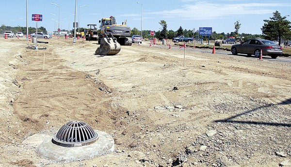 Construction started in June on a roundabout at the intersection of Godfrey Boulevard and Maine Avenue at Bangor International Airport. Hampden-based Hughes Bros. has the contract for the project, which costs just under $1 million.