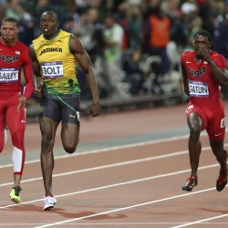 Gatlin wins 100, Gay a close 2nd at US trials