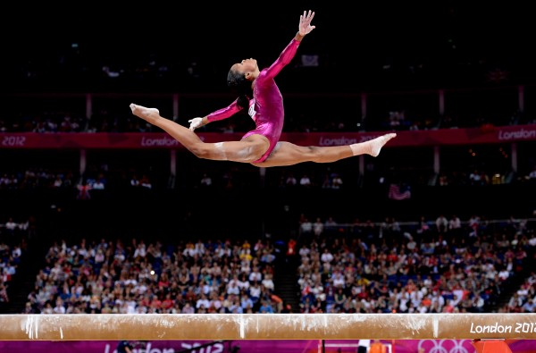 Gold medal winner Gabrielle Douglas of the U.S. competes on the beam in the women's individual all-around during the Summer Olympic Games in London. Douglas was named AP female athlete of the year.