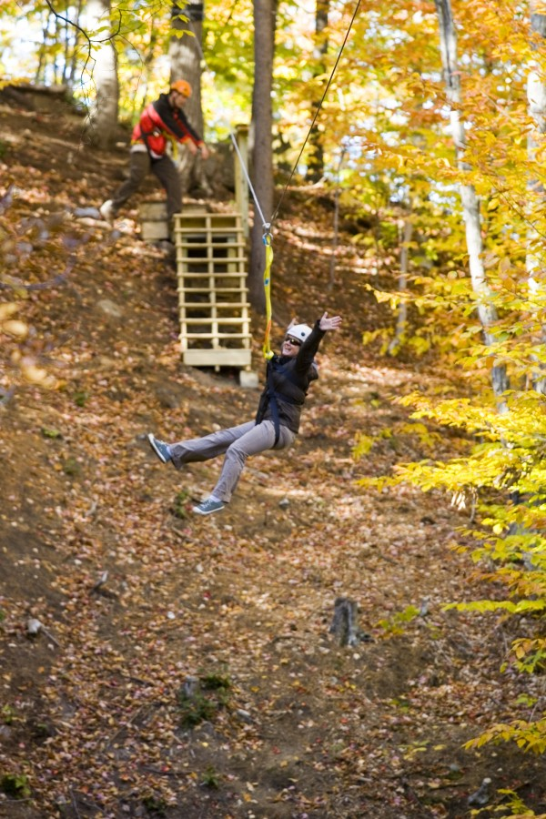 Zipline tours at Sunday River, Maine.