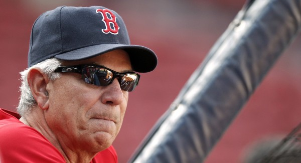 Boston Red Sox manager Bobby Valentine looks on during batting practice before their baseball game against the Minnesota Twins at Fenway Park in Boston, Friday, Aug. 3, 2012.