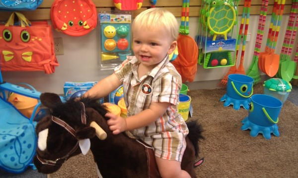 Fourteen-month-old Benjamin Wilcox of Bangor enjoys a ride on a rocking horse during a visit to the new Robert O. Cupcake toy store on Harlow Street in downtown Bangor on Wednesday, Aug. 15, 2012.