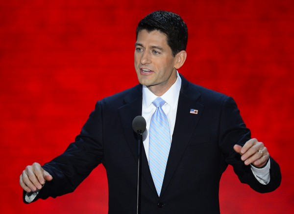 Republican vice presidential nominee Rep. Paul Ryan speaks to the delegation at the Republican National Convention in Tampa, Florida, Wednesday, August 29, 2012.
