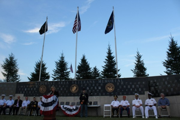 First lady of Maine, Ann LePage, spoke at the dedication ceremony of the Midcoast Area Veterans Memorial on Friday in Rockland. &quotIt's crucial we say thank you to our veterans,&quot she said. &quotWe must recognize the sacrifices they have made.&quot
