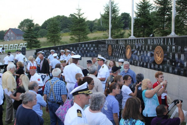 People gathered to gaze at the new Midcoast Area Veterans Memorial on Friday in Rockland after a dedication ceremony.