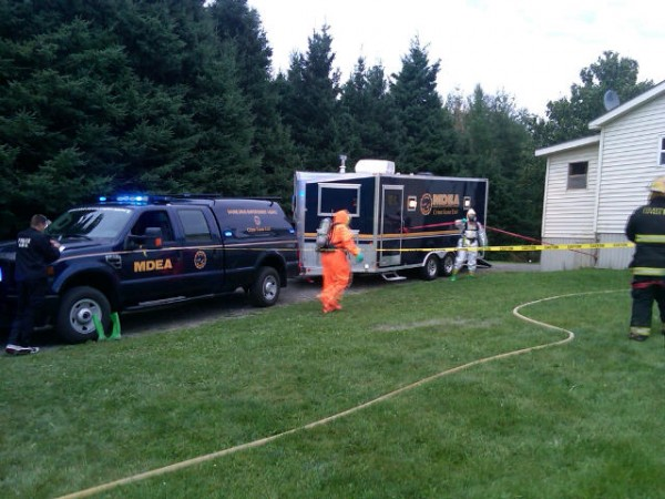 The Maine Drug Enforcement Agency arrested a 30-year-old Easton man for manufacturing methamphetamine on Wednesday, Aug. 29, 2012. Darrell Crandall, MDEA division commander, said Thursday afternoon that the agency's lab team is still searching Brian White's mobile home at 529 Houlton Road, pictured above.
