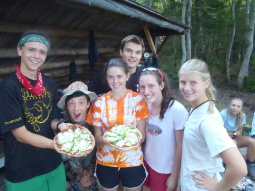 Participants in the 2012 Maine Youth WIlderness Leadership Program, sponsored by Friends of Baxter State Park, show off their camp-made pizza at Russell Pond campground in August of 2012. The group posing (from left) is Andrew Hollyday, 16, of Cape Elizabeth; Stephen Hand, 16, of Rockport; Deanna Morris, 17, of Mount Vernon; Andrew Holt, 17, of Orono; Rosie Alleva, 15, of Eliot; Krista Marble, 16, of North Yarmouth; and Sydney Pellerin, 16, of Yarmouth.