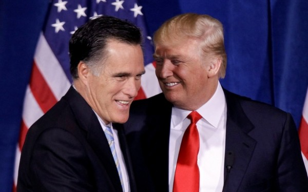 """Mitt Romney, with Donald Trump, on birther jokes: """"We've got to have a little humor in a campaign.&quot"""