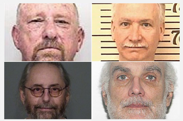 Clockwise from top left are Alan Dunlap, Floyd Slusher, Mark Bumgarner and Stephen Field. They are among the men about whom the Boy Scouts of America had received molestation allegations who nevertheless continued or regained involvement with the organization and were later convicted on abuse charges.