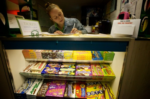 Danielle Wiglutsz keeps track of every straw, cup and box of candy at the Harbor Theatre in Boothbay Harbor. The cinema must soon convert to digital projectors or face closing down for good.