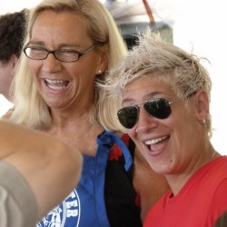 "Michele Ragussis (right), chef at The Pearl in Rockland, who recently was a finalist on ""Food Network Star,"" was a judge Friday, Aug. 3, at the Maine Lobster Festival Lobster Cooking Contest. Ragussis was accompanied by contest emcee Louise MacLellan-Ruf."