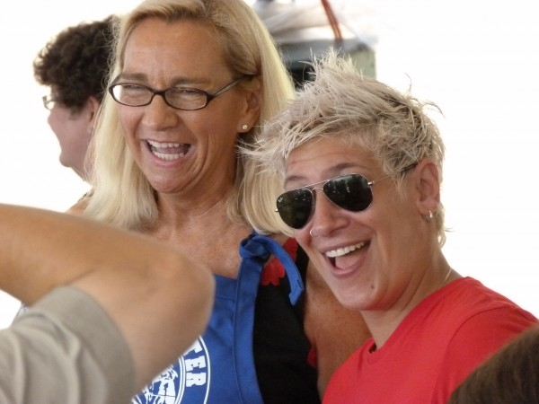 "Michele Ragussis (right), chef at The Pearl in Rockland, who recently was a finalist on ""Food Network Star,&quot was a judge Friday, Aug. 3, at the Maine Lobster Festival Lobster Cooking Contest. Ragussis was accompanied by contest emcee Louise MacLellan-Ruf."