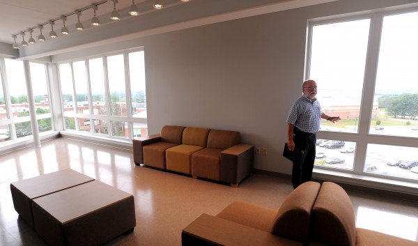 John Rubino, vice president of administration at Husson University, in the new Living and Learning Center on the university campus.