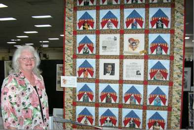 Jeanne Carter Wright with her 'Uncle Soapy' quilt