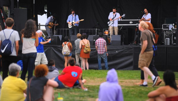 People listen to the music of the Darlingside on the second day of the KahBang festival at the Bangor Waterfront Friday afternoon.