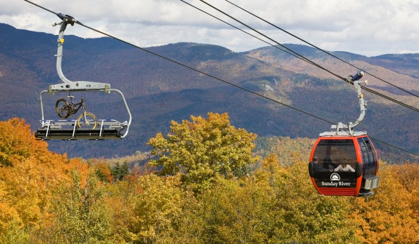 Sunday River's Chondola runs during summer and fall for mountain biking and scenic lift rides.