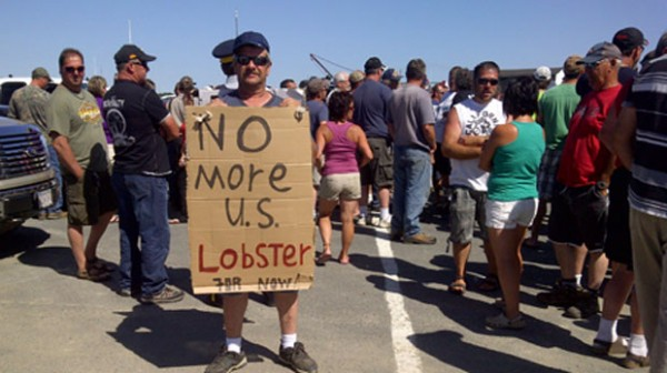 Canadian lobstermen in New Brunswick are protesting the processing of Maine lobsters there.