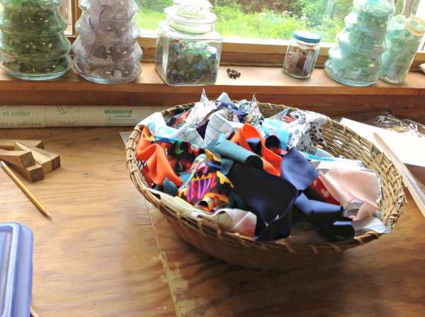 Scraps of material that will be added to a rag rug made by Diane and Wally O'Brien of Lincolnville.