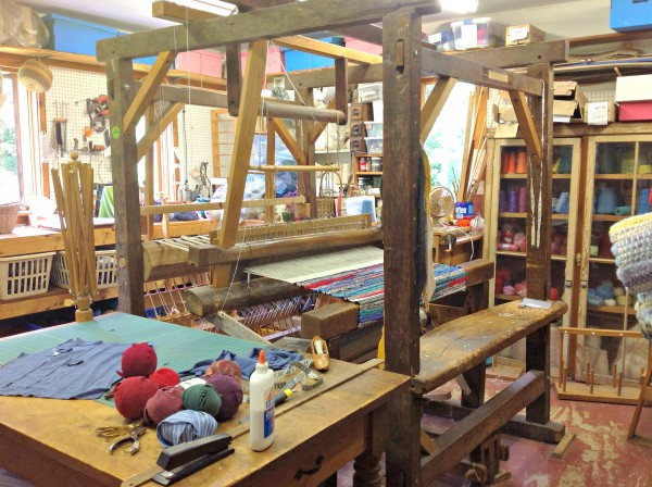 The workspace and loom used by Diane and Wally O'Brien of Lincolnville to make rag rugs.