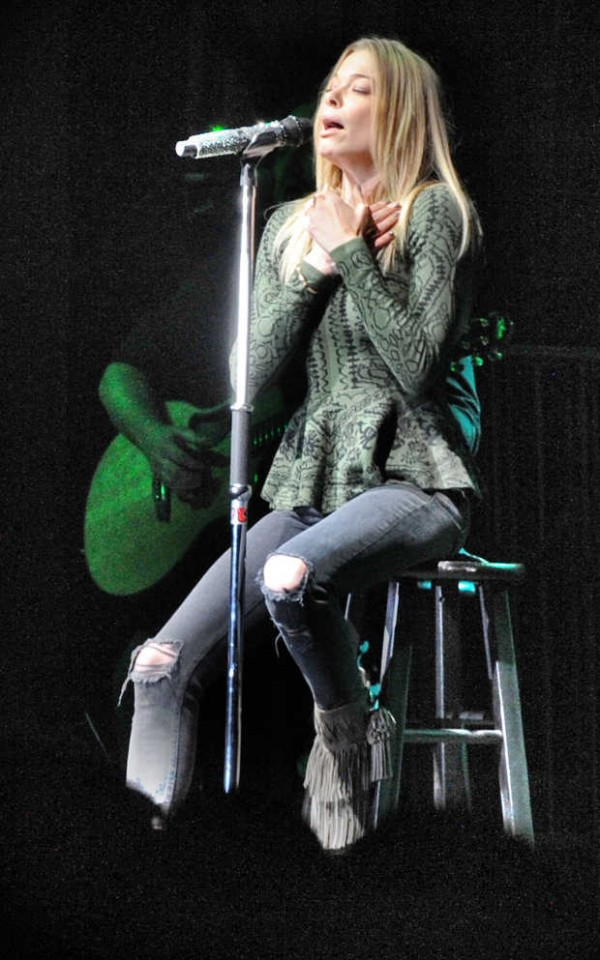 Country singer LeAnn Rimes performs for thousands of fans at the Oxford County Fair on Saturday night.