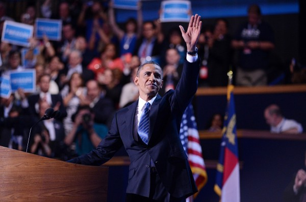 President Barack Obama waves to the crowd after his acceptance speech at the end of the 2012 Democratic National Convention in Times Warner Cable Arena Thursday, Sept. 6.