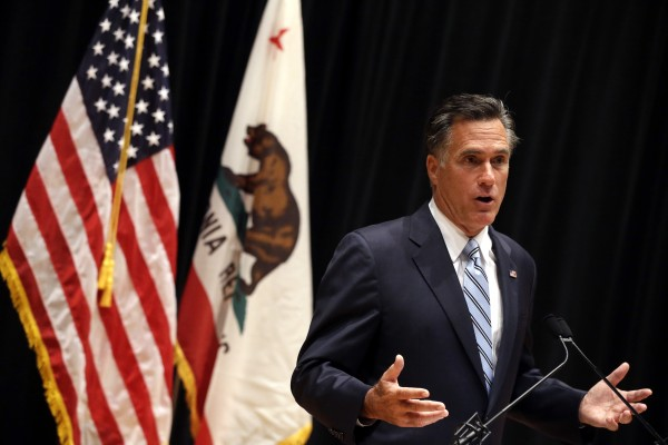Republican presidential candidate and former Massachusetts Gov. Mitt Romney speaks to reporters about the secretly taped video from one of his campaign fundraising events in Costa Mesa, Calif., Monday, Sept. 17.
