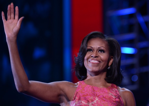 First Lady Michelle Obama waves to delegates after finishing her speech at the 2012 Democratic National Convention in Charlotte, N.C., Tuesday.