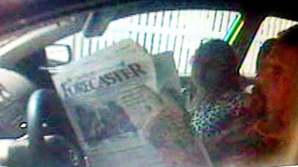 Authorities in New Jersey traced the suspects to Maine after seeing the front page of the Forecaster newspaper the male driver was reading while waiting at a bank drive-through.