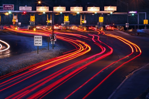 Traffic slows for the York tolls on the Maine Turnpike in this file photo. Maine has joined Massachusetts and New Hampshire in an effort to catch out-of-state toll cheaters.