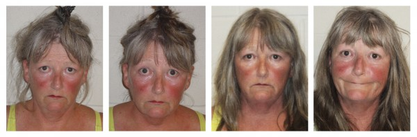This series of booking photos, released by the Epping, N.H., Police Department, shows Joyce Coffey, arrested four times in 26 hours Tuesday and Wednesdsay, Aug. 29 and 30.