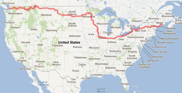 Roger McDougall used Google Maps to chart his 4,046-mile bicycle route from Anacortes, Washington, to Bar Harbor.