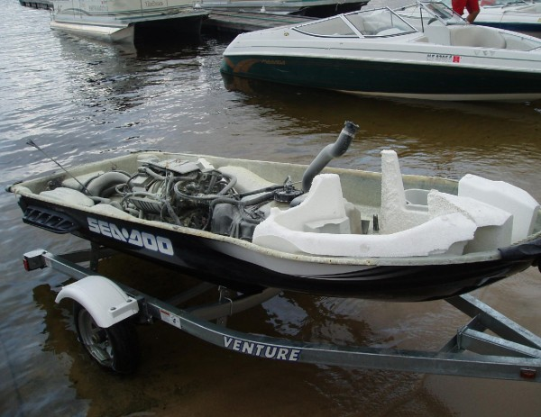 A Sea-Doo exploded Saturday afternoon, injuring one man.
