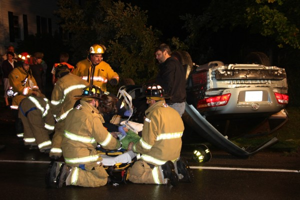 Rockland and Owls Head emergency crews responded Tuesday night to a crash in which a car landed on its roof.
