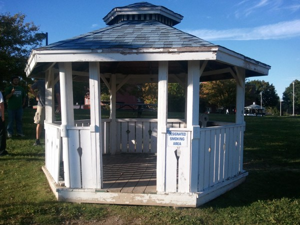 The University of Maine at Presque Isle built three gazebos in 2003 as designated smoking areas on campus. Above is the gazebo involved in a small accidental fire on Sept. 13, 2012.