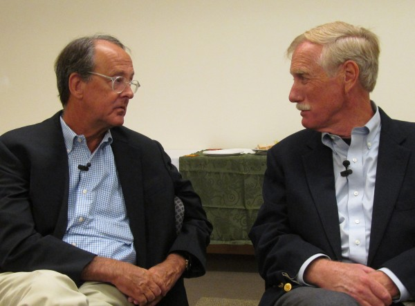 Erskine Bowles, co-chairman of the bipartisan National Commission on Fiscal Responsibility and Reform (left) talks with independent U.S. Senate candidate and former Maine Gov. Angus King on Sunday, Sept. 9, 2012, before a town hall meeting about the federal debt in Portland organized by the King campaign.