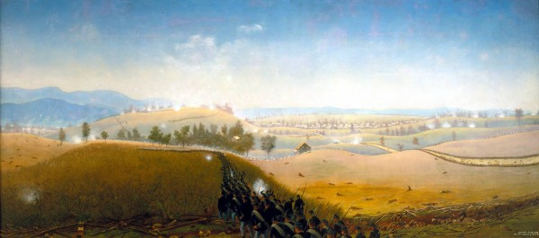 Marching in column with their rifled muskets at &quotright shoulder arms,&quot members of the 7th Maine Infantry Regiment cross the Sunken Road during the Sept. 17, 1862 Battle of Antietam. A veteran of Antietam, Capt. James Hope of the 2nd Vermont Infantry, painted this landscape years after the battle; he likely watched the 7th Maine advance to attack Confederate troops in the distance. The painting is now owned by the National Park Service.