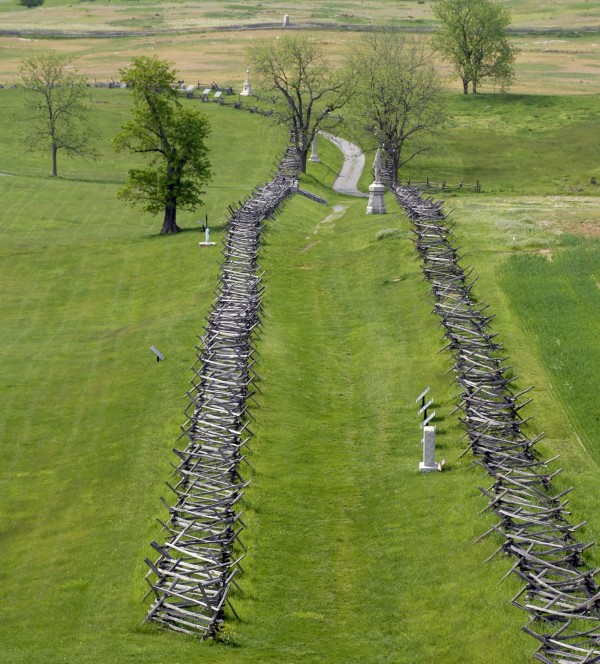 During the Sept. 17, 1862 Battle of Antietam in Maryland, the infamous Sunken Road ran between the fences that separate these fields outside Sharpsburg, Md. Sent on a suicide mission against Confederate forces, the 7th Maine Infantry crossed the Sunken Road from right to left near where the two trees now stand within the fences. The road was filled with dead or wounded Confederate soldiers; the 7th Maine soldiers stepped on the bodies while crossing the road.