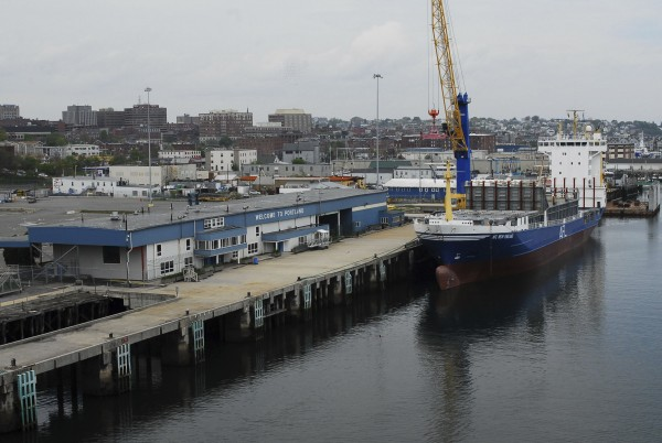 The American Feeder Lines' New England container ship remains moored at the state's International Marine Terminal in Portland in May.