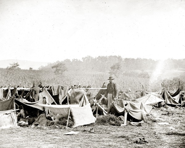 Several days after the Sept. 17, 1862, Battle of Antietam, Alexander Gardner photographed a makeshift Army hospital set up at Keedysville, Md. Wounded Confederate prisoners were treated at this hospital; they lived in the crude tent shelters visible in the photograph. Isabella Fogg, a Calais nurse, found wounded Maine men living in similar conditions when she visited area hospitals (including that at Keedysville) in early November 1862; by then, early snow blanketed the ground.
