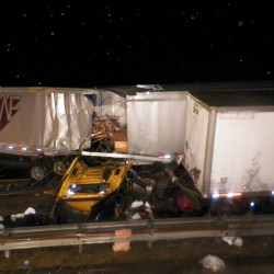 Southbound lanes in Falmouth reopen after early morning crash involving 4 tractor-trailers, car