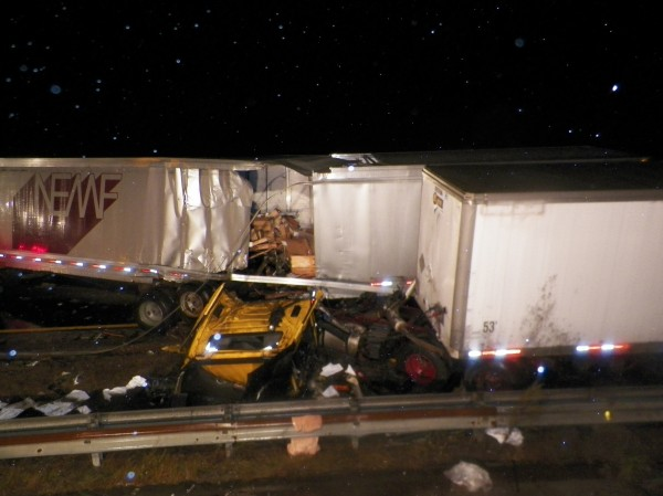 Two tractor-trailers crashed on the Maine Turnpike in Saco around 9:30 p.m. Friday, Sept. 28, 2012.